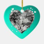 Teal Hearts and Ribbon Photo Ornaments