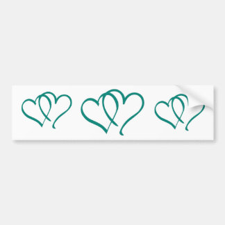 Teal Hearts Bumper Sticker