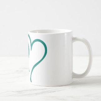 Teal Hearts Coffee Mugs