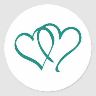 Teal Hearts Classic Round Sticker