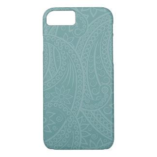 Teal Henna Swirl Pattern iPhone Case