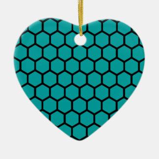 Teal Hexagon 4 Ceramic Ornament