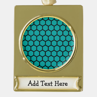Teal Hexagon 4 Gold Plated Banner Ornament