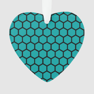 Teal Hexagon 4 Ornament