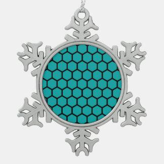 Teal Hexagon 4 Snowflake Pewter Christmas Ornament