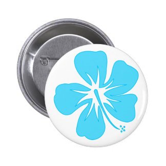 Teal Hibiscus Button