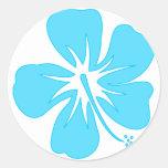 Teal Hibiscus Classic Round Sticker