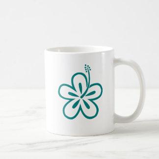 teal hibiscus coffee mug