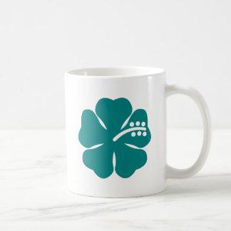 teal hibiscus flower coffee mug