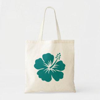 Teal hibiscus flower tote bag