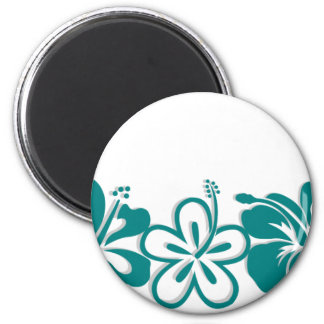 Teal Hibiscus Lei Hawaii Souvenirs 2 Inch Round Magnet