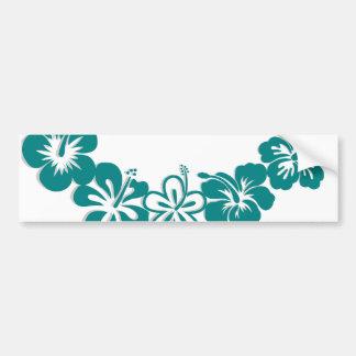 Teal Hibiscus Lei Hawaii Souvenirs Bumper Sticker