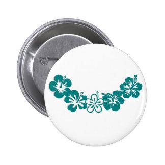 Teal Hibiscus Lei Hawaii Souvenirs Button