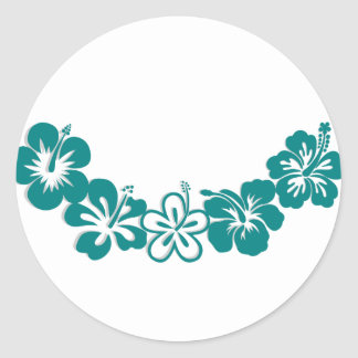 Teal Hibiscus Lei Hawaii Souvenirs Classic Round Sticker