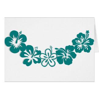Teal Hibiscus Lei Hawaii Souvenirs Greeting Card
