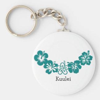 Teal Hibiscus Lei Hawaii Souvenirs Keychain