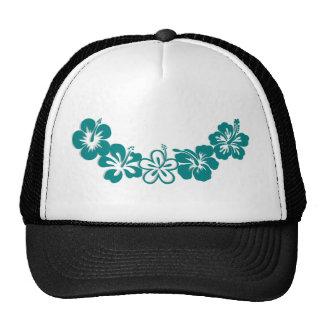 Teal Hibiscus Lei Hawaii Souvenirs Mesh Hat