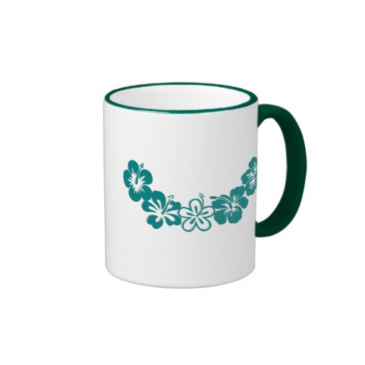 Teal Hibiscus Lei Hawaii Souvenirs Coffee Mugs