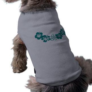Teal Hibiscus Lei Hawaii Souvenirs Pet Tee Shirt