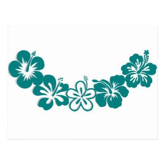 Teal Hibiscus Lei Hawaii Souvenirs Postcard