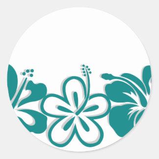 Teal Hibiscus Lei Hawaii Souvenirs Round Sticker