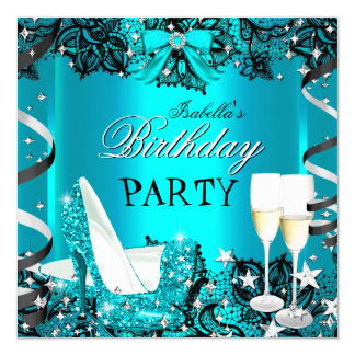 Teal High Heel Champagne Black Lace Birthday Party Card