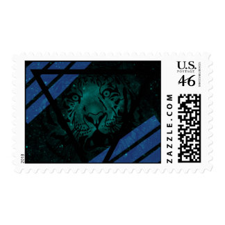 Teal Hipster Tiger Nebula with Black Triangle Postage