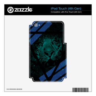 Teal Hipster Tiger Nebula with Black Triangle Skins For iPod Touch 4G