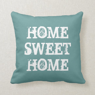 Teal 'Home sweet home' vintage heart throw pillow