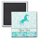 Teal Horse 2 Inch Square Magnet