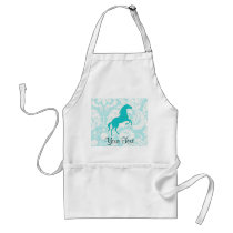 Teal Horse Adult Apron
