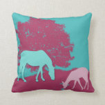 Teal Horse and Pink Deer pillow