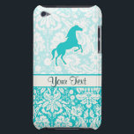 "Teal Horse Barely There iPod Cover<br><div class=""desc"">You will love this cute teal damask horse horses equestrian stallion colt design. Great for gifts! Available on tee shirts, smart phone cases, mousepads, keychains, posters, cards, electronic covers, computer laptop / notebook sleeves, caps, mugs, and more! Visit our site for a custom gift case for Samsung Galaxy S3, iphone...</div>"