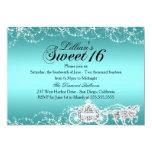 "Teal Horse & Carriage Princess Sweet 16 Invite 5"" X 7"" Invitation Card"