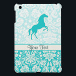 "Teal Horse Case For The iPad Mini<br><div class=""desc"">You will love this cute teal damask horse horses equestrian stallion colt design. Great for gifts! Available on tee shirts, smart phone cases, mousepads, keychains, posters, cards, electronic covers, computer laptop / notebook sleeves, caps, mugs, and more! Visit our site for a custom gift case for Samsung Galaxy S3, iphone...</div>"