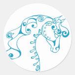 Teal Horse Head Classic Round Sticker