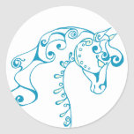 Teal Horse Head Round Stickers