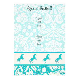 Teal Horse Personalized Invites
