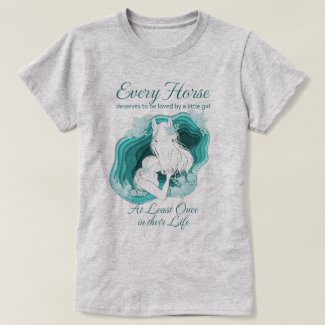 Teal Horse Lover - Little Girls and Horses T-Shirt
