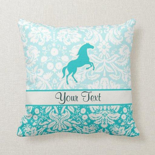 Teal Horse Throw Pillow