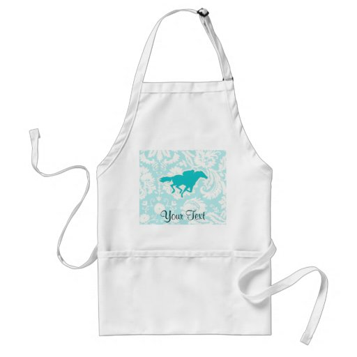 Teal Horse Racing Adult Apron