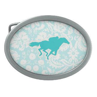 Teal Horse Racing Belt Buckle