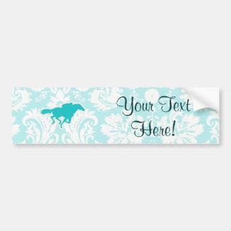 Teal Horse Racing Bumper Sticker