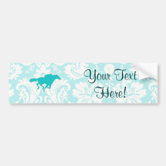 Teal Horse Racing Car Bumper Sticker