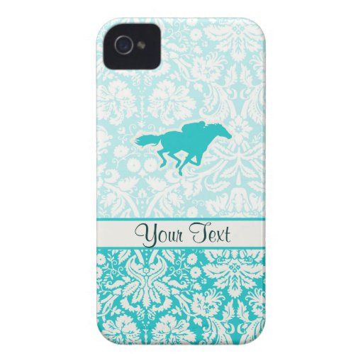 Teal Horse Racing iPhone 4 Case