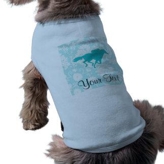Teal Horse Racing Dog T Shirt