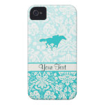 Teal Horse Racing iPhone 4 Cover