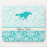 Teal Horse Racing Mouse Pad