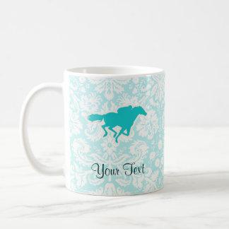 Teal Horse Racing Classic White Coffee Mug