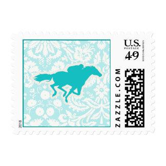 Teal Horse Racing Stamp